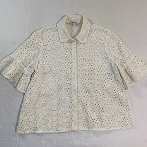 Madewell Eyelet Button Blouse Top M